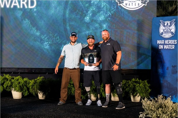 The Tournament's three Ron Ashimine Award winners share the WHOW awards stage. The award is bestowed upon the tournament's top angler, which is determined based on total points. From left, Drew Mewes (2020), Larry Draughn (2021) and Kaleb Weakley (2019).
