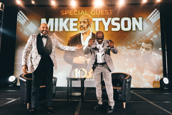 OSP's Amer Abdallah presents Mike Tyson at their 10 Year National Conference in Chicago, IL