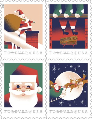 A Visit From St. Nick stamps illustrate the story of Santa's visit on Christmas Eve.